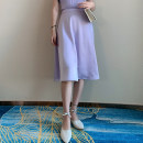 skirt Summer 2020 XS,S,M,L Lavender Mid length dress commute High waist A-line skirt Solid color Type A 18-24 years old 51% (inclusive) - 70% (inclusive) other Vagrant Republic other zipper Retro