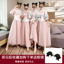 Dress / evening wear Weddings, adulthood parties, company annual meetings, daily appointments Retro longuette middle-waisted Winter of 2019 Fall to the ground stand collar zipper 18-25 years old Embroidery Solid color Youyi Pavilion pagoda sleeve New polyester 90% other 10% Exclusive payment of tmall