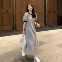 Dress Summer 2021 Gray, black Average size Mid length dress singleton  Short sleeve Sweet Crew neck High waist other A-line skirt routine Others Under 17 Type A Splicing RP 30% and below cotton solar system