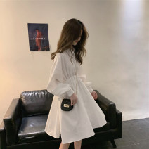 Dress Spring 2020 White, black S,M,L Mid length dress singleton  Long sleeves Sweet Polo collar High waist Solid color Single breasted Big swing routine Others Under 17 Type A 291155-rp 31% (inclusive) - 50% (inclusive) other cotton solar system