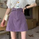 skirt Summer 2021 S,M,L,XL Short skirt Sweet High waist A-line skirt Solid color Type A Under 17 ZX 51% (inclusive) - 70% (inclusive) Denim cotton zipper solar system