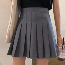 skirt Spring 2021 S,M,L Black, white, red, gray Short skirt Versatile High waist Pleated skirt Solid color Type A Under 17 5016-rp Other / other polyester fiber