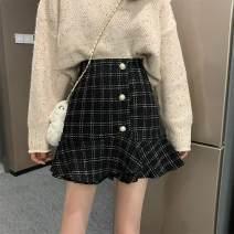skirt Spring 2021 S,M,L black Short skirt Sweet High waist other lattice Type A Under 17 981-rp2 solar system