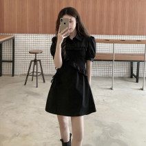 Dress Summer 2021 black S,M,L,XL Short skirt singleton  Short sleeve Sweet Polo collar High waist Solid color Three buttons A-line skirt bishop sleeve Others Under 17 Type H ZX 51% (inclusive) - 70% (inclusive) other polyester fiber solar system