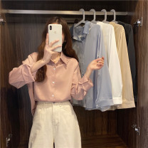 shirt White, blue, gold, black, pink Average size Spring 2021 polyester fiber 96% and above Long sleeves Sweet Regular Scarf Collar Socket routine Broken flowers Under 17 Straight cylinder Wh solar system