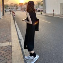Dress Summer 2021 Dark grey, black Average size Mid length dress singleton  Sleeveless Sweet Crew neck High waist Solid color Socket One pace skirt other Others Under 17 Type H Asymmetry 147023-rp2 91% (inclusive) - 95% (inclusive) brocade cotton solar system