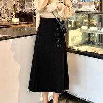 skirt Spring 2021 Average size black Mid length dress commute High waist A-line skirt Solid color Type A Under 17 91% (inclusive) - 95% (inclusive) Other / other polyester fiber Korean version