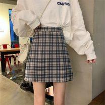 skirt Spring 2021 S,M,L Light green grid, blue grid Short skirt Sweet High waist A-line skirt lattice Type A Under 17 jb 51% (inclusive) - 70% (inclusive) solar system