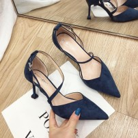 Sandals 34,35,36,37,38,39 Black, blue Suede Ainer-cat / Eni cat Baotou Fine heel High heel (5-8cm) Summer of 2019 Flat buckle Korean version Solid color Adhesive shoes Youth (18-40 years old) rubber daily Bag heel Shallow mouth Low Gang Hollow PU PU A6912 Flat buckle