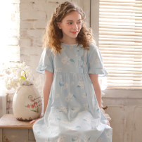 Nightdress ME JU Pear pink, pear blue, pear khaki 155(S),160(M),165(L),170(XL) Sweet Short sleeve Leisure home Middle-skirt summer Plants and flowers youth Crew neck cotton printing More than 95% pure cotton MS5114 320g