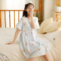Nightdress Fudo Pink peaches, blue peaches 155(S),160(M),165(L),170(XL) Sweet Short sleeve Leisure home Middle-skirt summer Plants and flowers youth V-neck cotton lace More than 95% pure cotton LZ1350 300g