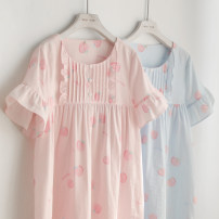 Nightdress ME JU Pink peaches, blue peaches 155(S),160(M),165(L),170(XL) Sweet Short sleeve Leisure home Middle-skirt summer Plants and flowers youth Crew neck cotton lace More than 95% pure cotton MS5413 320g