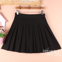 skirt Spring 2021 black Short skirt commute High waist Pleated skirt Solid color Type A 71% (inclusive) - 80% (inclusive) other cotton Pleated, zipper Korean version