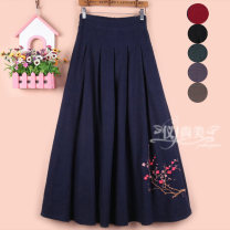 skirt Winter 2020 One size fits from 2 to 2.6 waist Dark blue 3, Black 9, dark blue-3, black-9, RED-1, dark green-4, gray-5 longuette Versatile High waist A-line skirt Solid color Type A 30% and below other hemp Pleats, embroidery, pleats, pockets, threads