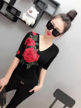 T-shirt Black, white, red M,L,XL,2XL Autumn 2021 Short sleeve V-neck Self cultivation Regular routine commute cotton 71% (inclusive) - 85% (inclusive) 18-24 years old Korean version youth Solid color xn170-1