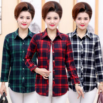 shirt White grid, green grid, red grid XL,2XL,3XL,4XL,5XL Spring of 2018 cotton 96% and above Long sleeves Versatile Regular square neck Single row multi button routine lattice 40-49 years old Straight cylinder