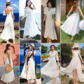 Dress Autumn 2020 8081 white, 8890889187178027808456887186611813388467556672667161529105813818391087 S,M,L,XL singleton  commute High waist Solid color Socket A-line skirt camisole 18-24 years old Type A
