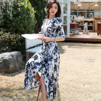 Dress Spring 2021 S,M,L,XL,XXL longuette singleton  elbow sleeve commute V-neck High waist Decor other Big swing routine Breast wrapping 18-24 years old Type A Retro printing 31% (inclusive) - 50% (inclusive) other other