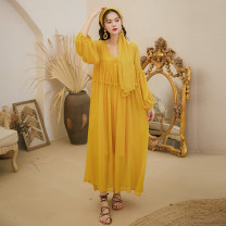 Dress Autumn 2020 Ginger  S,M,L longuette Three piece set three quarter sleeve V-neck Loose waist Solid color Socket Big swing bishop sleeve Pleating, stitching Chiffon polyester fiber