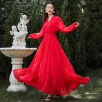 Dress Autumn 2020 Picture color S,M,L,XL longuette Sweet stand collar Bohemia
