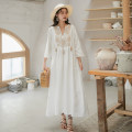 Dress Autumn 2020 Ginger, white S,M,L,XL Mid length dress singleton  three quarter sleeve commute Crew neck Loose waist Socket Big swing Tassels, embroidery cotton