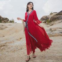 Dress Autumn 2020 gules S,M,L,XL longuette singleton  Sweet V-neck Big swing pagoda sleeve Chiffon polyester fiber Bohemia