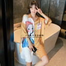 Pajamas / housewear set female you gelato pique Polyester (polyester) Short sleeve Cartoon summer Thin Living clothes Lapel Cartoon animation youth Ice silk printing Middle-skirt One size fits all