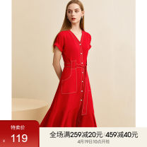 Dress Summer 2021 gules S,M,L,XL Mid length dress singleton  Short sleeve commute V-neck High waist Solid color Single breasted other routine Others 25-29 years old Type X Fanqin Simplicity Frenulum