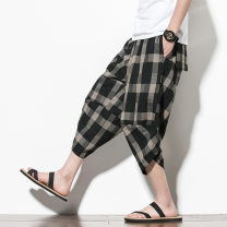 Casual pants Others other Red, black M,L,XL,2XL,3XL,4XL,5XL routine Cropped Trousers sandy beach easy No bullet summer youth Chinese style 2020 middle-waisted Straight cylinder Beach pants other lattice other hemp 80% (inclusive) - 89% (inclusive)