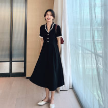 Dress Summer 2021 black S,M,L,XL Mid length dress singleton  Long sleeves commute V-neck High waist Solid color Socket Big swing routine Others Type A Korean version Pockets, panels, buttons 81% (inclusive) - 90% (inclusive) other polyester fiber