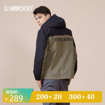 Jacket Simwood Youth fashion Black and green 165/S 170/M 175/L 180/XL 185/XXL routine standard Other leisure spring SJ1708481 Polyester 100% Long sleeves Wear out Hood Simplicity in Europe and America youth routine Zipper placket Straight hem No iron treatment Closing sleeve Spring 2021