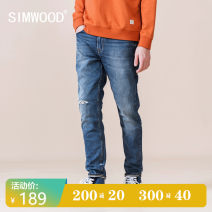 Jeans Youth fashion Simwood 28 29 30 31 32 33 34 36 blue routine Micro bomb Regular denim trousers Cotton 99% polyurethane elastic fiber (spandex) 1% autumn youth Medium low back Slim feet Simplicity in Europe and America 2020 Straight foot Button washing washing Autumn 2020 cotton