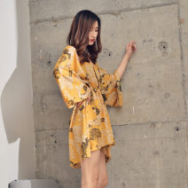 Nightdress Green, yellow Average size Sweet Long sleeves pajamas Middle-skirt summer Plants and flowers youth V-neck Iced silk printing More than 95% Chiffon 200g