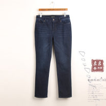 Jeans Winter of 2018 Blue 2,4,6,8,10,12,14,16,16w (waist 2'9), 18W (waist 3's), 18 (waist 3's) trousers High waist Straight pants routine Wash, whiten, stick cloth, multi pocket Cotton elastic denim Dark color Other / other 71% (inclusive) - 80% (inclusive)
