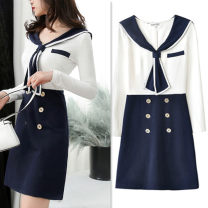 Dress Autumn of 2019 Color matching [100% real shooting, quality assurance] S. M, l, XL, inventory adjustment Short skirt singleton  Long sleeves commute Admiral High waist other zipper A-line skirt routine Others Type A Panel, button, zipper 51% (inclusive) - 70% (inclusive) other cotton