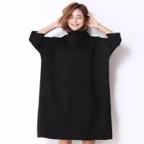 Women's large Fall 2017 Gray, black Big size average Dress singleton  easy thick Socket Long sleeves Solid color Medium length Three dimensional cutting