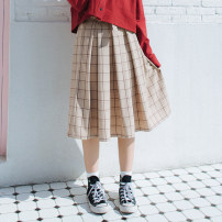 skirt Spring of 2018 S,M,L Retro MIG skirt in stock, retro yellow checked skirt in stock Mid length dress Retro Natural waist A-line skirt lattice Type A S216B-33