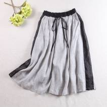 skirt Summer 2020 Average size Light grey, light blue longuette commute Natural waist A-line skirt Solid color Type A More than 95% hemp Embroidery, pocket, lace up literature