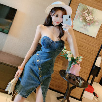 Dress Summer 2021 blue S, M Middle-skirt singleton  Sleeveless commute One word collar High waist Solid color Socket Breast wrapping 18-24 years old Type A Other / other Retro