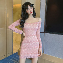 Dress Spring 2021 Pink S,M,L,XL Short skirt singleton  Long sleeves commute One word collar High waist Solid color Socket One pace skirt routine Others 18-24 years old Type H Splicing Lace polyester fiber