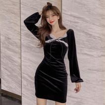 Dress Autumn 2020 black M, L Short skirt singleton  Long sleeves commute V-neck High waist Solid color One pace skirt 18-24 years old Type A Peipei clothing Korean version
