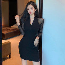 Dress Spring 2021 black S,M,L Short skirt singleton  Long sleeves commute V-neck High waist Solid color Socket One pace skirt routine 25-29 years old zipper polyester fiber