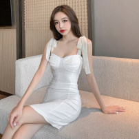 Dress Summer 2021 White, black S,M,L Short skirt singleton  Sleeveless commute One word collar High waist Solid color One pace skirt camisole 18-24 years old Type A