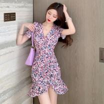 Dress Summer 2021 Decor S,M,L Short skirt singleton  Short sleeve commute V-neck High waist Broken flowers Ruffle Skirt routine 18-24 years old Korean version 527#