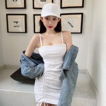 Dress Summer 2021 Gray, white, black Average size Short skirt singleton  Sleeveless commute One word collar High waist Solid color zipper One pace skirt camisole 18-24 years old backless M98 51% (inclusive) - 70% (inclusive) polyester fiber