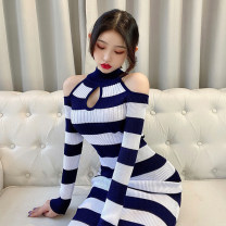 Dress Spring 2021 Yellow with black stripes, white with dark blue stripes, white with dark green stripes Average size longuette singleton  Long sleeves commute Crew neck middle-waisted stripe Socket Pencil skirt routine Hanging neck style 18-24 years old Type H Korean version Splicing M224