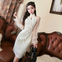 cheongsam Spring 2021 S,M,L Apricot Long sleeves Retro Low slit daily Oblique lapel Solid color 18-25 years old Piping polyester fiber 91% (inclusive) - 95% (inclusive)