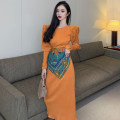 Dress Spring 2021 Orange Average size Mid length dress singleton  Long sleeves commute High waist Solid color One pace skirt 18-24 years old Type A Korean version A3149