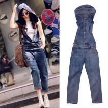 Jeans Autumn of 2019 navy blue XS,S,M,L,XL,2XL,3XL trousers Natural waist rompers routine Wash, zipper, button, multi pocket Dark color 51% (inclusive) - 70% (inclusive)