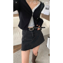 skirt Spring 2021 S,M,L Black, black pre-sale 5-7 working days Short skirt commute Denim skirt Solid color Type A 18-24 years old AQD211303 More than 95% other cotton Korean version